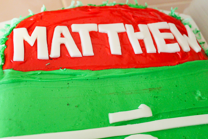 football end zone on a cake