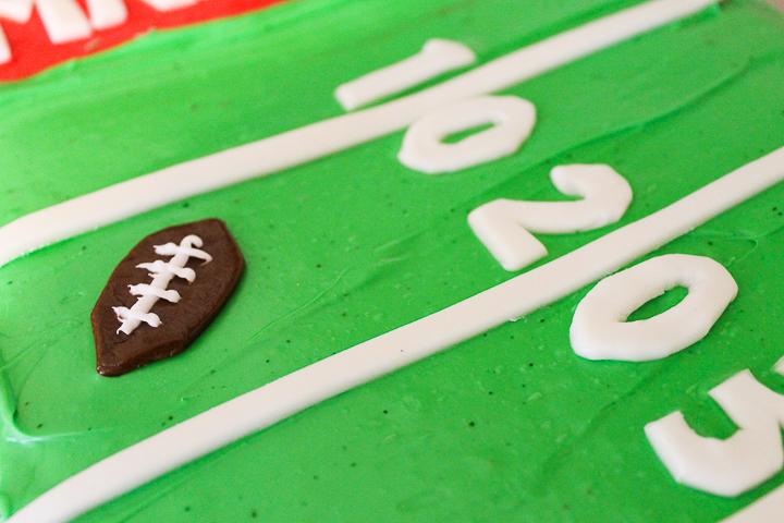 fondant football on a cake
