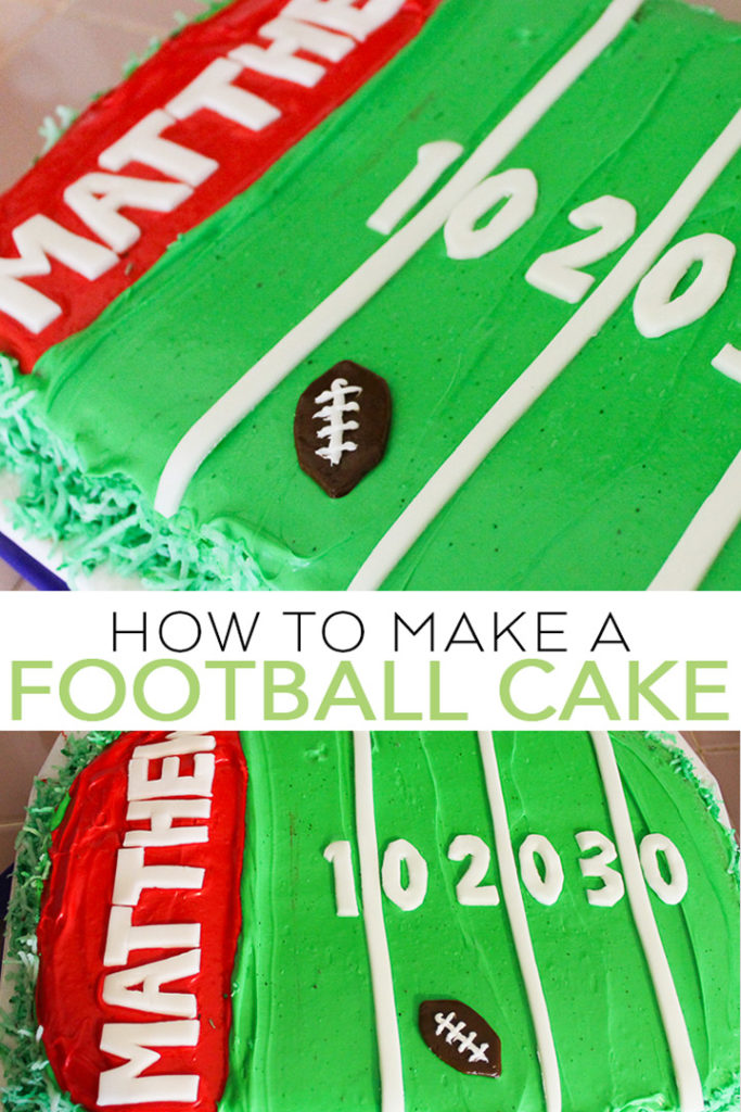 Learn how to make a football cake for your little one! This football field cake is perfect for birthdays, tailgates, and so much more! Plus it is easy to make! #football #cake #dessert #tailgate