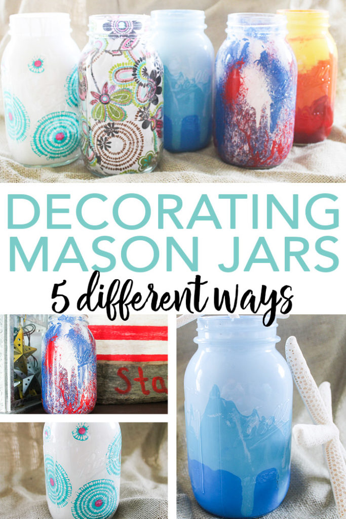 Learn all about decorating mason jars 5 different ways with these techniques! Quick and easy ideas for painting and decoupaging on jars! #decoupage #masonjar #paint