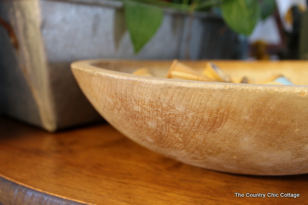 wooden spools and dough bowl