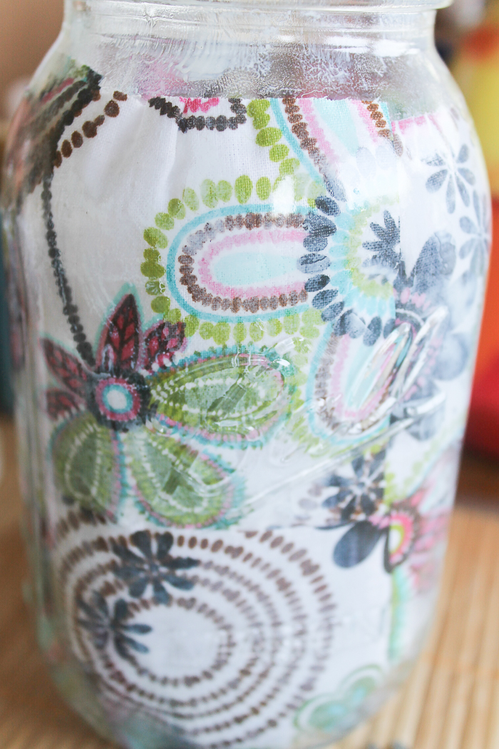 I only needed a few squares of floral fabric to decoupage the inside of this mason jar