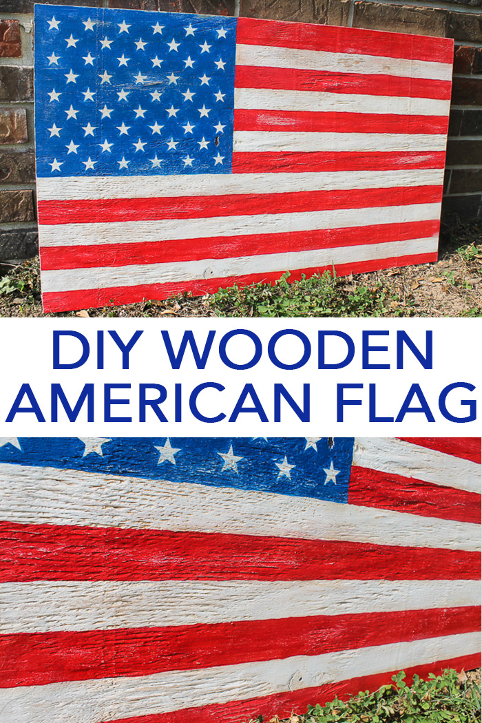 Make this DIY wooden American flag with a piece of scrap wood and a little paint! The perfect addition to your farmhouse style decor this summer! #rustic #cricut #cricutmade #farmhouse #farmhousestyle #summer #4thofjuly #americana