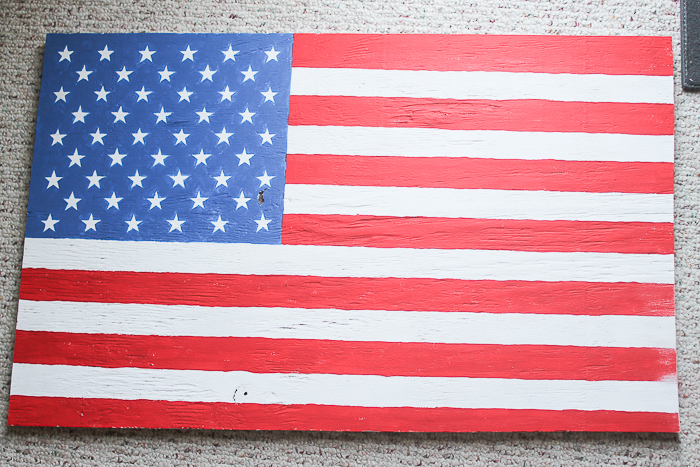 a DIY wooden american flag before distressing