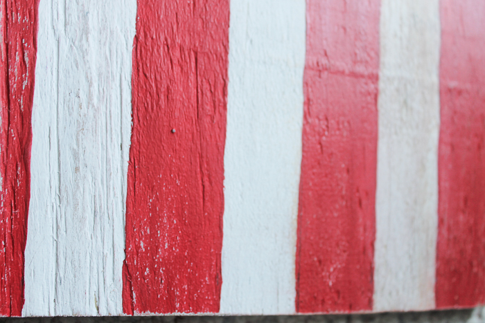 How to give your painted wooden American flag a distressed, vintage look with wood stain
