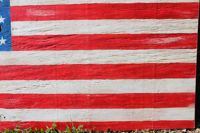 Perfectly distressed stripes on the wooden American flag