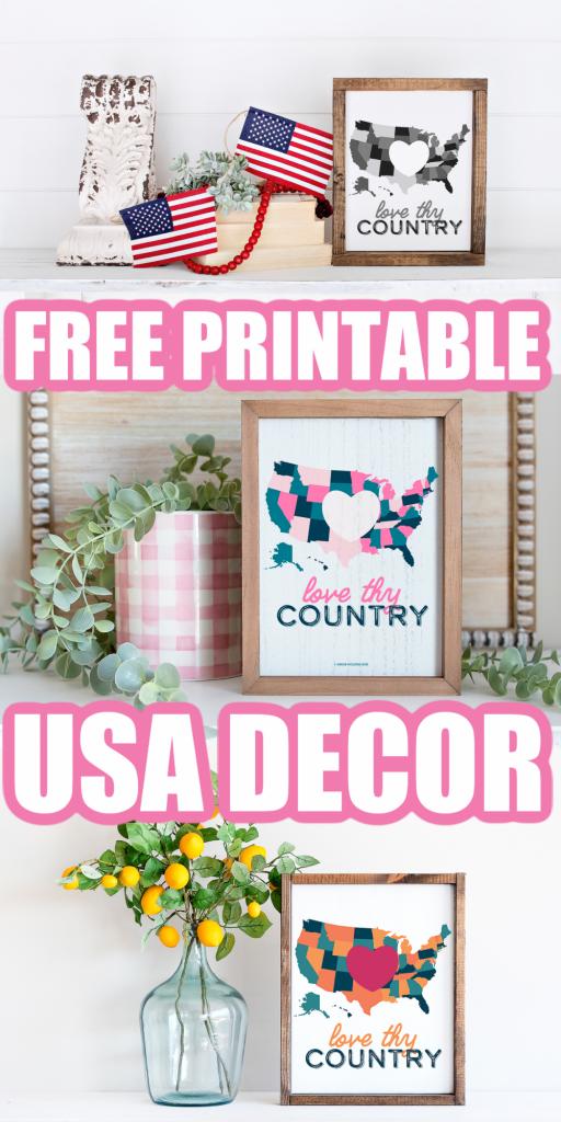 free printable USA map decor