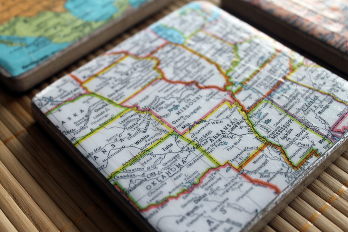 coaster with map made with decoupage