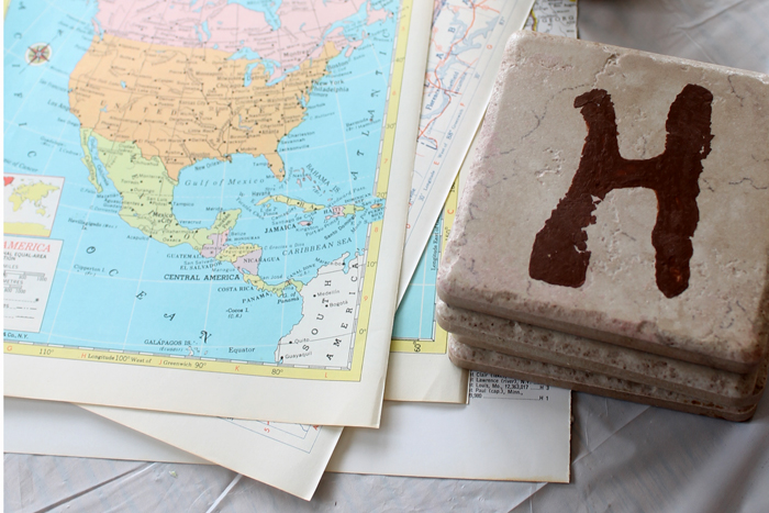 DIY coasters with maps
