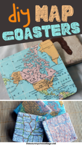Make these DIY map coasters with a few supplies and some Mod Podge! These are great for any home or to give as gifts and easy to make as well! #maps #coasters #giftidea #modpodge #modpodgerocks