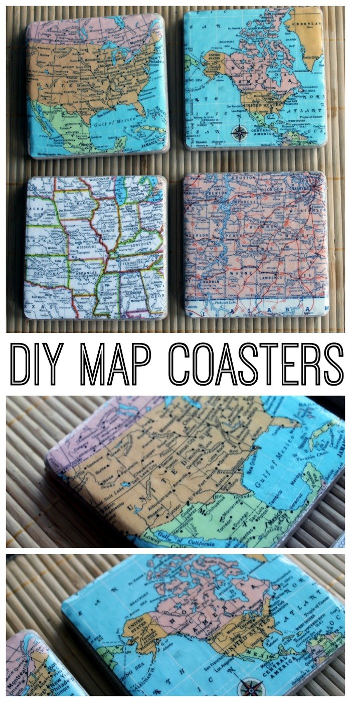 25 Handmade Gift Ideas for Men includes DIY Map Coasters