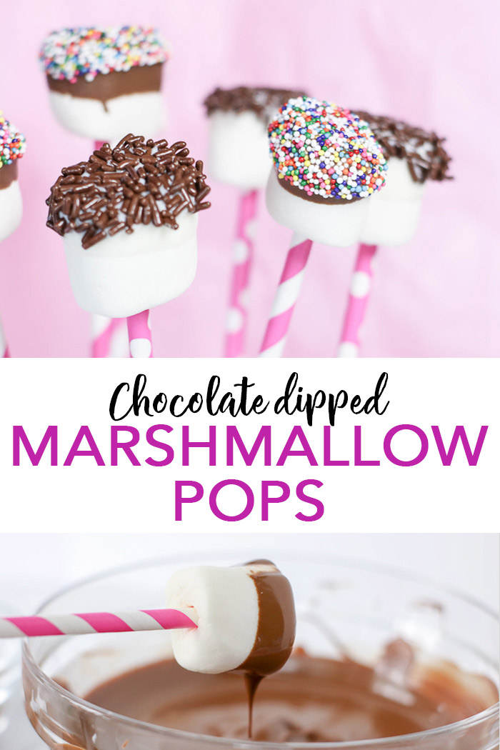 Learn how to make chocolate dipped marshmallow pops with these easy instructions and recipe! #marshmallows #dessert #recipe