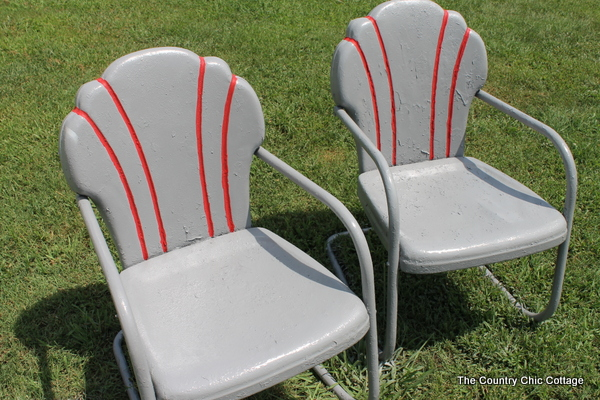 spray painting metal chairs
