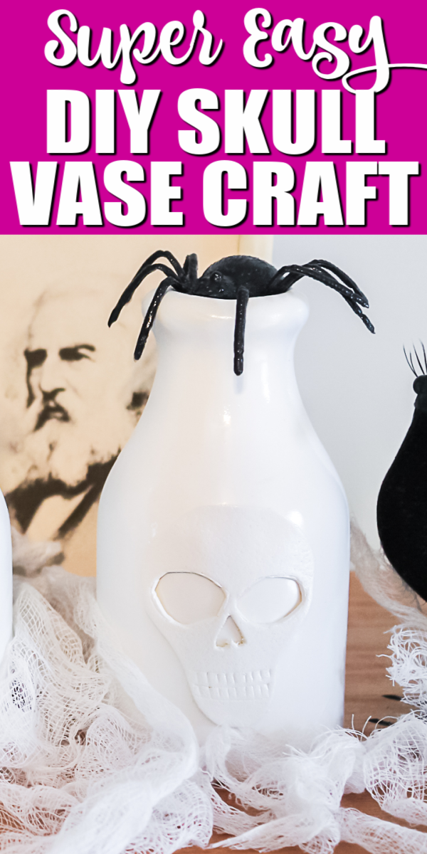 Make cute DIY Halloween decorations in minutes with this craft project! You will love how a skull vase looks in your home! #halloween #halloweencrafts #halloweendecor