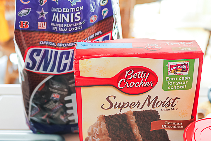 ingredients for a snickers cake recipe