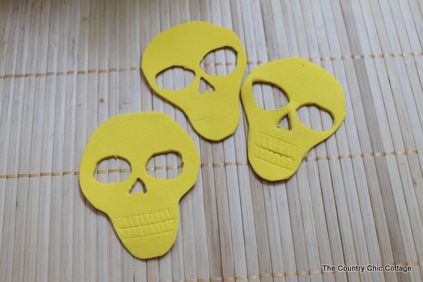 foam cut into skull shapes