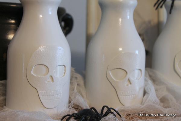 halloween diy skull vase