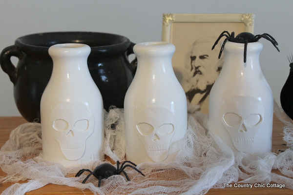 pottery barn inspired skull vases