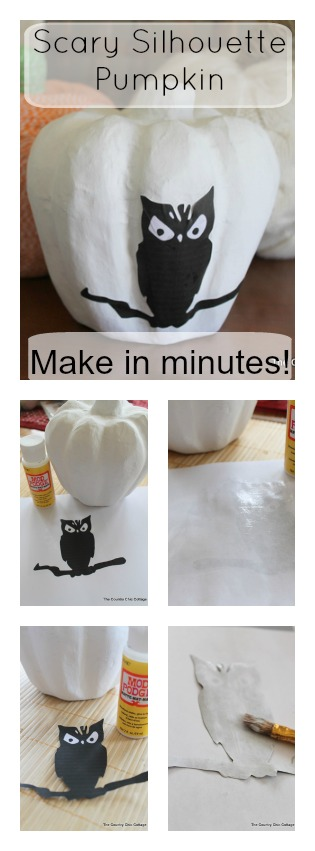 Make your own scary silhouette pumpkin with these instructions! Click for more detail and a full tutorial.