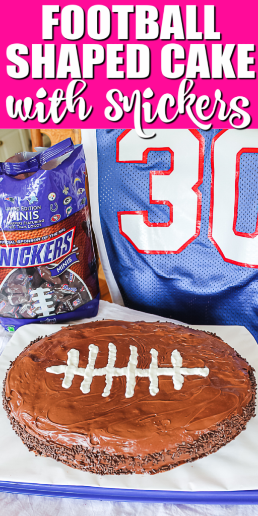 Learn how to make a football shaped cake! Includes a great Snickers cake recipe that will really make this football cake something extra special! #football #cake #recipe #dessert #footballparty