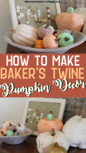 Learn how to make baker's twine pumpkins for your fall decor! These are the perfect addition to any fall farmhouse style display! #farmhouse #farmhousestyle #pumpkins #twine #modpodge