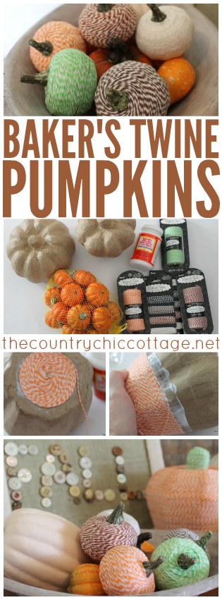 Wrap artificial pumpkins with baker's twine for a fun fall craft idea!