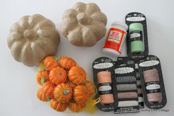 supplies to cover paper mache pumpkins with baker's twine