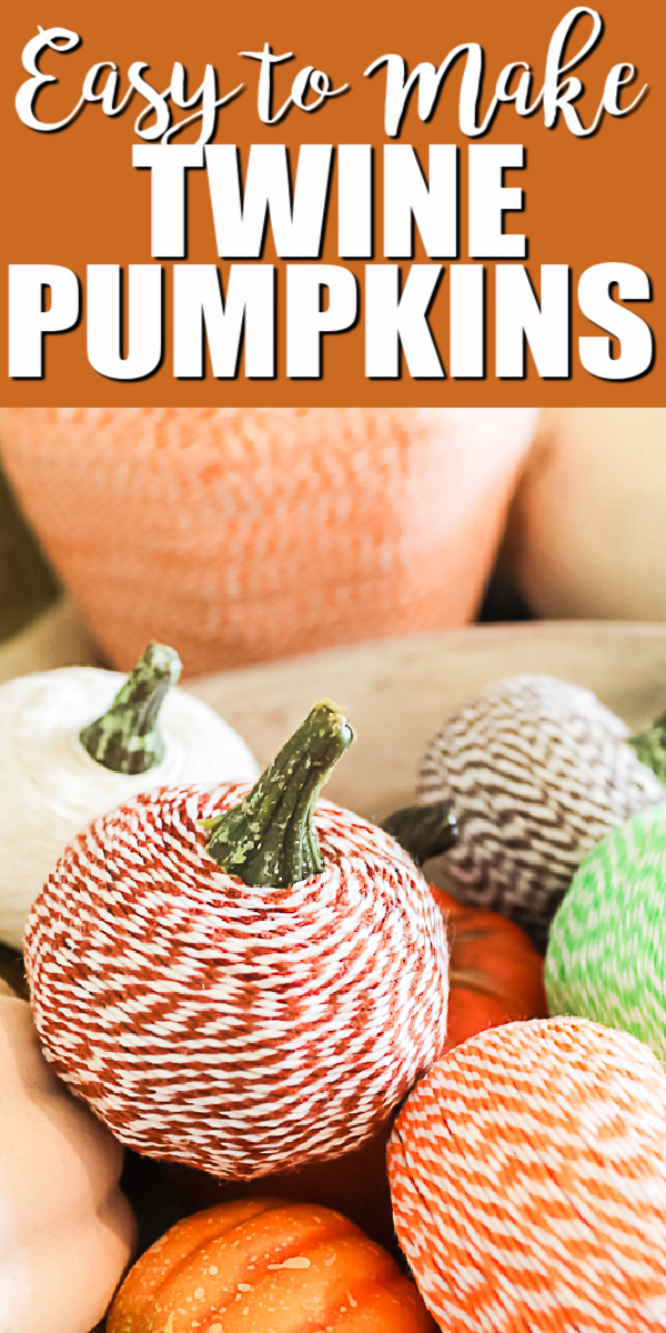 Learn how to make twine pumpkins with a few craft supplies! These are a great way to add some fall decor to your home! #fall #pumpkins #twine #fallcrafts