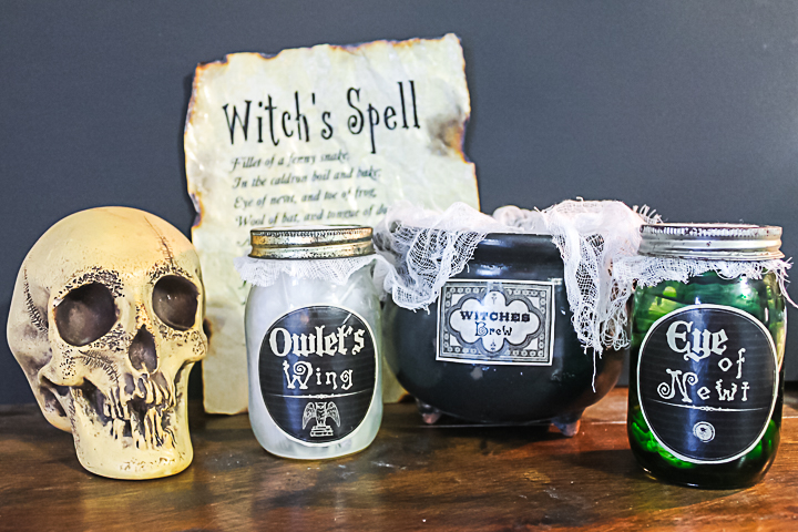 scary witch halloween decor with free printable spell book page
