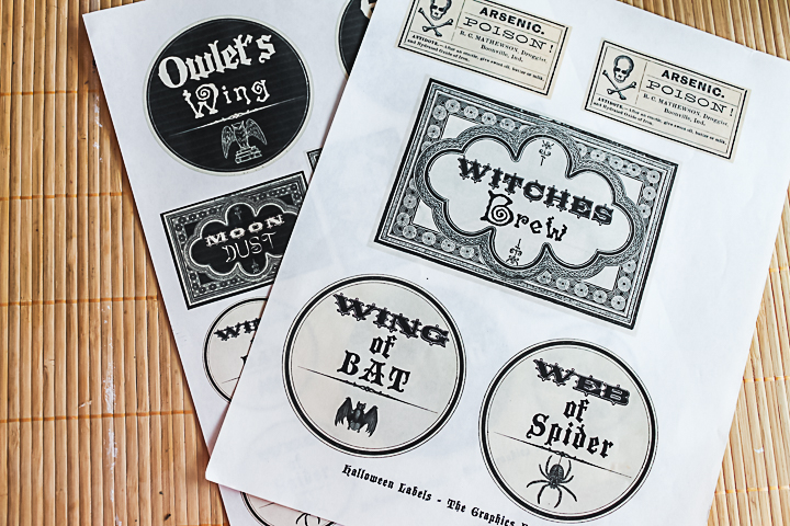 witch's potion printable labels