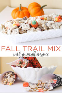 Give this fall trail mix a try! The addition of pumpkin spice to this Halloween trail mix recipe really sets it apart! #halloween #fall #pumpkinspice