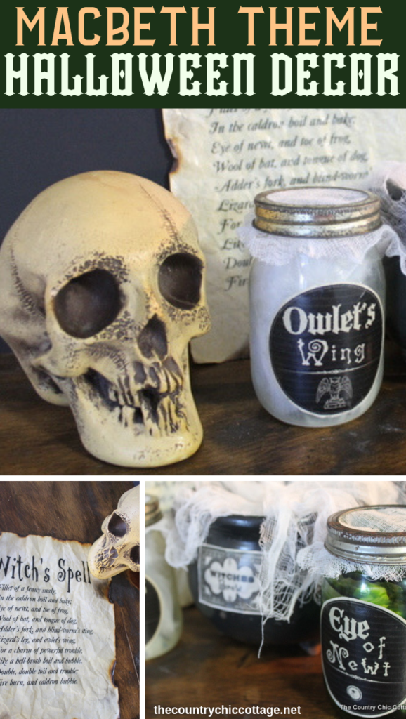 Make this Macbeth inspired Halloween decor with a few craft supplies and a free printable spell! You will love scaring the little ones with this decor for your home! #halloween #spooky #macbeth