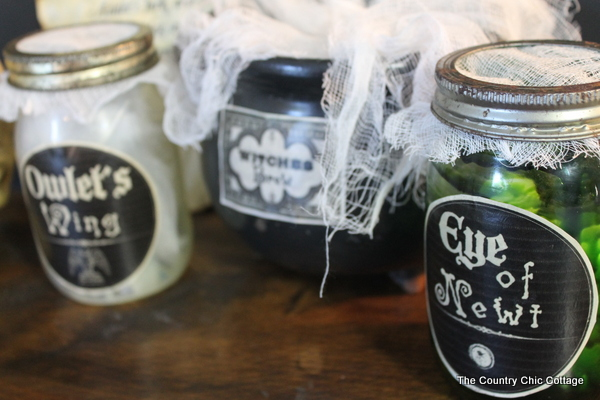 witch's brew and ingredients halloween decor
