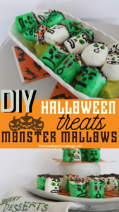 These monster mallows are sure to hit the spot this Halloween! These Halloween treats can be made in minutes and the whole family will love them! #halloween #halloweentreats #dessert #nobake