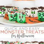 These Halloween marshmallows are sure to hit the spot and the kids can help make them! Monster marshmallows are something the whole family will love! #halloween #monsters #treat #recipe #halloweenparty