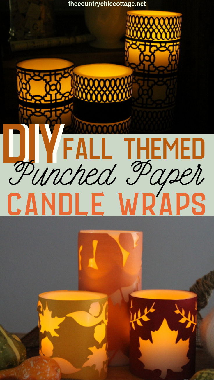 Make these DIY paper candle wraps for your home decor! We have a fall version as well as a version you can display all year long! #cricut #cricutmade #cricutcreated #fall #autumn #papercrafts