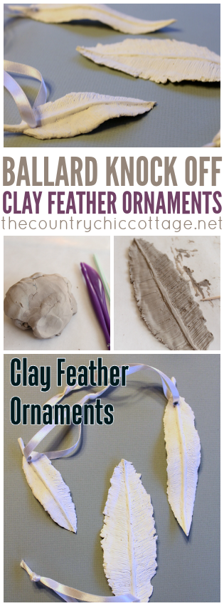 Make these clay feather ornaments easily for your tree!