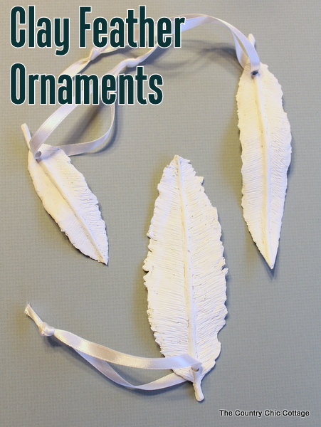 Clay feather ornaments ballard knock off the country chic cottage they were gorgeous they were also 49 for a set of 3 so yes i had to knock them off here are my clay feather ornaments solutioingenieria Gallery