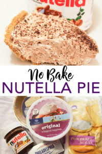 Serve up this no-bake Nutella pie recipe any night of the week! A delectable pie that you can make in minutes! #nutella #pie #dessert #yum