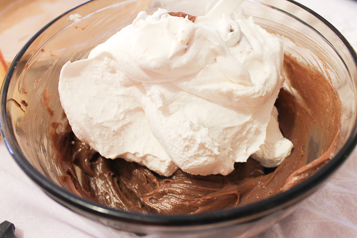 Folding whipped topping into Nutella mixture