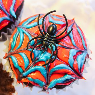 spider web on a cupcake