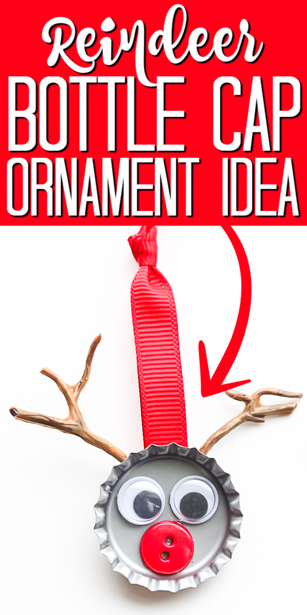 Make bottle cap ornaments with your kids with this cute idea! They will love making a bottle cap reindeer for your tree! #reindeer #ornaments #christmastree
