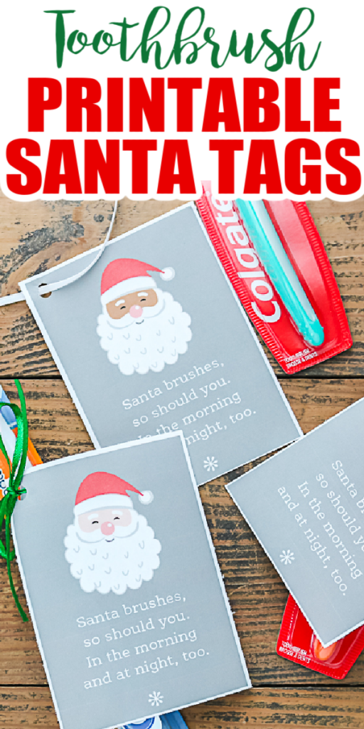 Get these free printable Santa tags and add them to your child's gifts this year! These are perfect for getting kids to brush their teeth as well! #santa #gifttags #freeprintables #printables