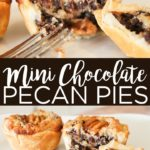 Make this mini chocolate pecan pie recipe for any holiday celebration! These mini pies are perfect for Thanksgiving and more! #chocolate #pie #thankgiving #pecans #pecanpie #dessert #dessertrecipes #recipe #sweettooth #pierecipe