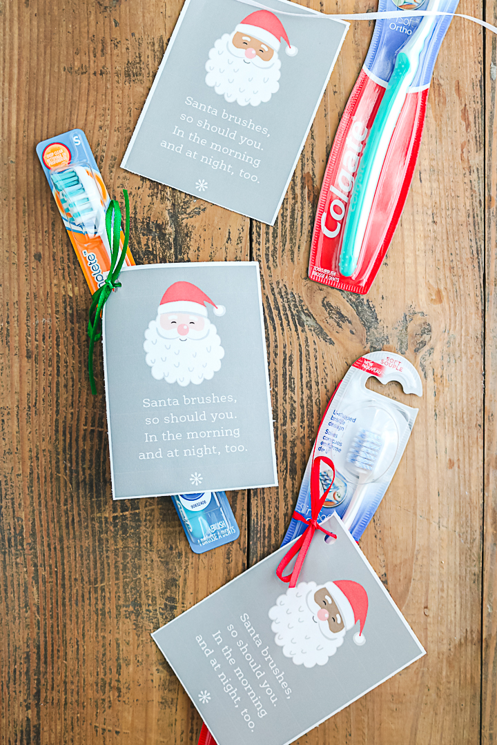 santa toothbrush tags