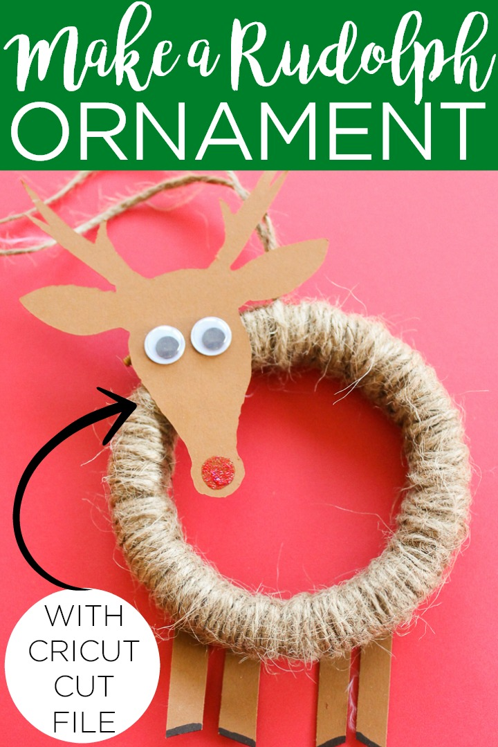 Learn how to make a DIY Rudolph ornament with your Cricut machine in minutes! This is a great project to make with the kids for your Christmas tree! #christmas #cricut #cricutcreated #rudolph #reindeer #ornament #christmastree #kidscraft #papercraft #embroideryhoop #christmasornament