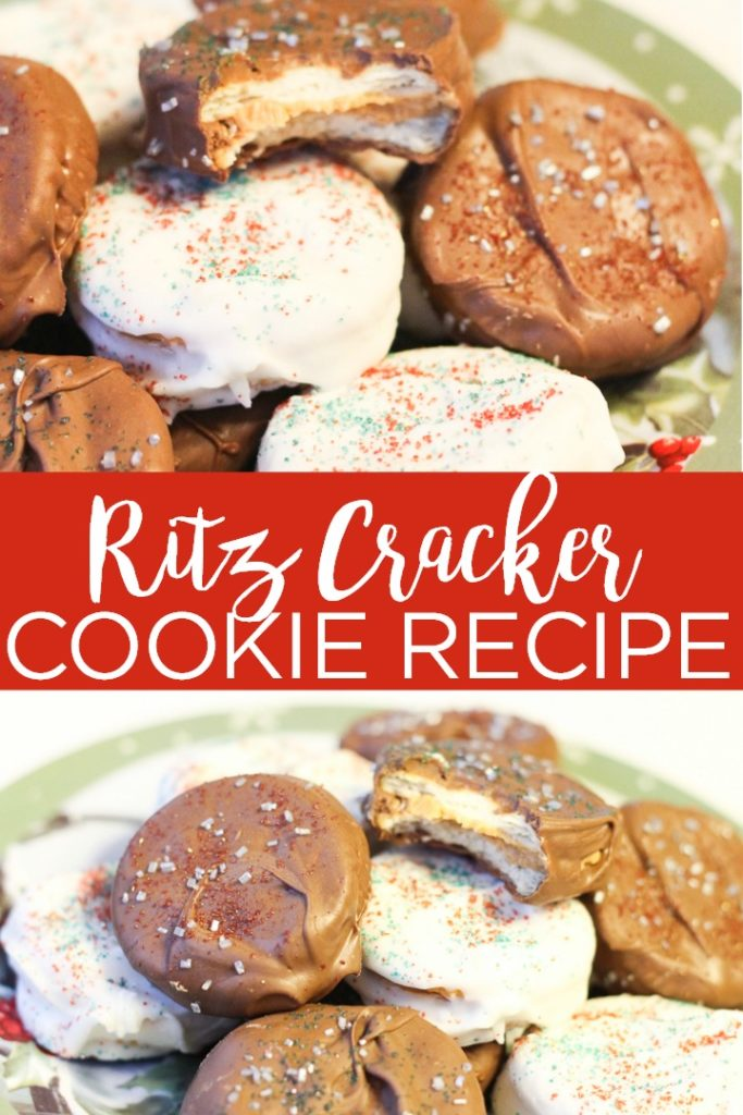 Make these Ritz cracker cookies for your loved ones this holiday season! This no bake recipe comes together in minutes and is the perfect Christmas cookie recipe! #christmas #cookies #cookierecipe #peanutbutter #chocolate #nobake