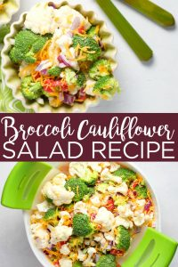 This broccoli cauliflower salad recipe is perfect for those trying to eat healthier! Grab the ingredients and whip this up as a side dish or even for a quick lunch! #salad #recipe #glutenfree #broccoli #cauliflower #healthy #healthyliving #healthyrecipe #yum #food #foodie