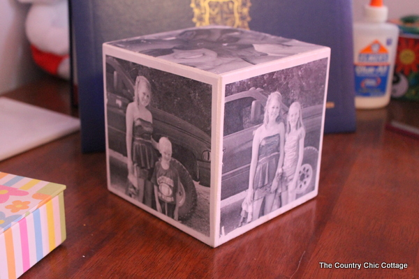 completed DIY photo cube