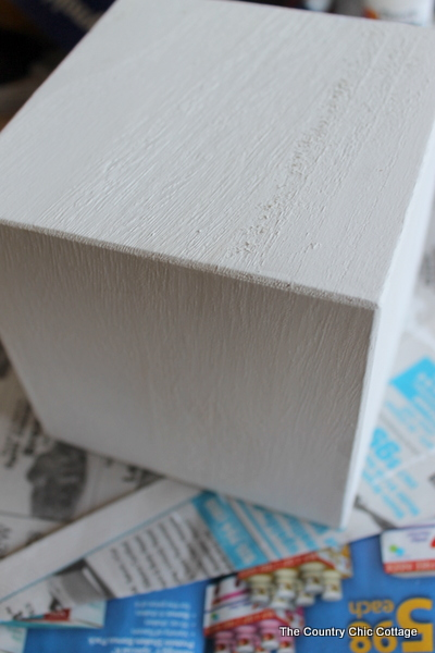 block of wood painted white
